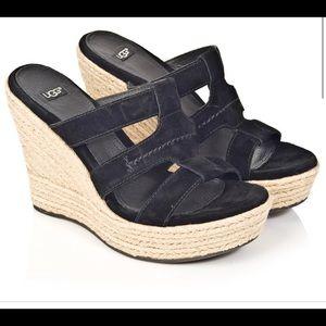 Ugg Tawnie Black Sandal Wedge
